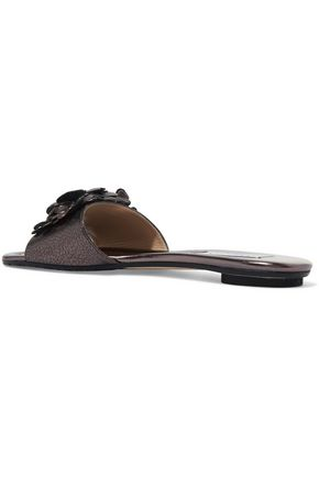 JIMMY CHOO Neave crystal-embellished appliquéd metallic leather slides