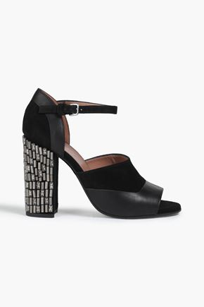 MARNI Embellished suede and leather sandals
