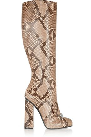 GUCCI Horsebit-detailed python knee boot
