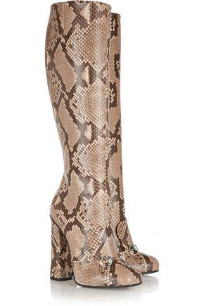 GUCCI Horsebit-detailed python knee boot