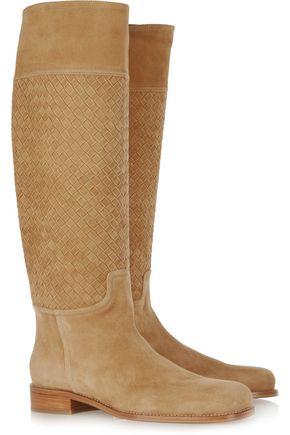 BOTTEGA VENETA Intrecciato suede knee boots