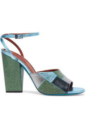 MISSONI Metallic and glittered leather sandals
