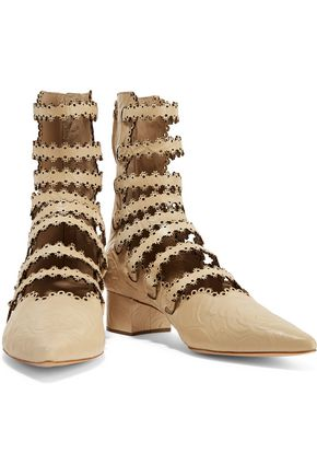 ZIMMERMANN Filigree embossed laser-cut leather ankle boots