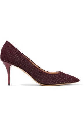 SALVATORE FERRAGAMO Glittered laser-cut suede pumps