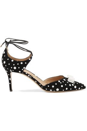 SALVATORE FERRAGAMO Carolyn bow-embellished polka-dot suede pumps