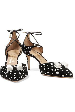 SALVATORE FERRAGAMO Carolyn bow-embellished polka-dot suede pumps