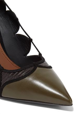 SALVATORE FERRAGAMO Felisia cutout suede, python-effect and metallic leather pumps