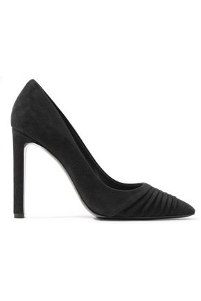 SALVATORE FERRAGAMO Funny pleated suede pumps