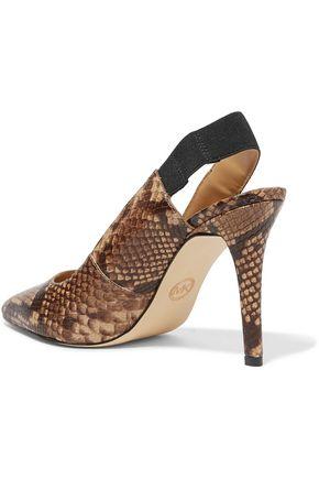 MICHAEL MICHAEL KORS Snake-effect leather slingback pumps