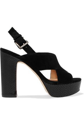 MICHAEL MICHAEL KORS Mariana snake-effect and suede platform sandals