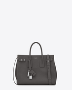 SAINT LAURENT Sac De Jour Supple D Small SAC DE JOUR SOUPLE in asphalt gray grained leather f