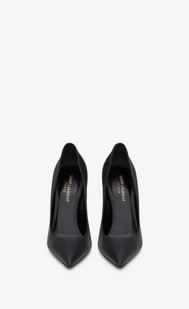 SAINT LAURENT YSL heels D OPYUM 110 pump in black leather and gold-toned metal b_V4
