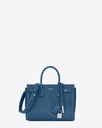 SAINT LAURENT Sac De Jour Supple D baby SAC DE JOUR SOUPLE in denim blue grained leather f
