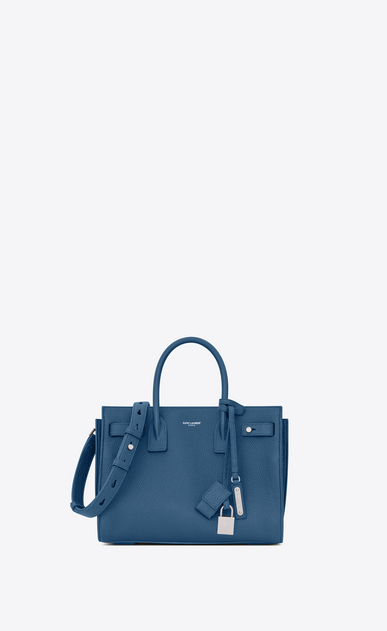 SAINT LAURENT Sac De Jour Supple D baby SAC DE JOUR SOUPLE in denim blue grained leather a_V4
