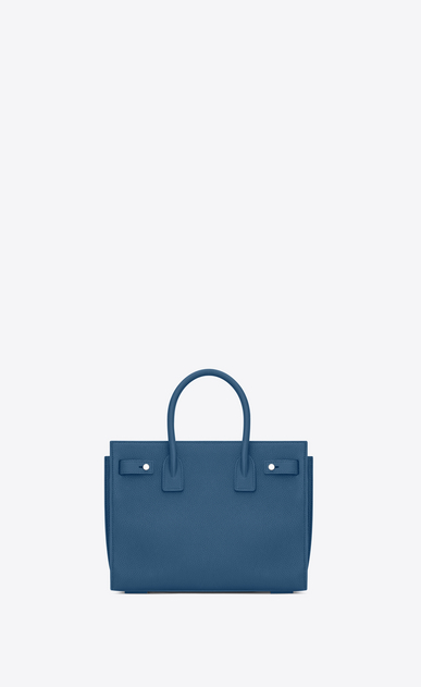 SAINT LAURENT Sac De Jour Supple D baby SAC DE JOUR SOUPLE in denim blue grained leather b_V4
