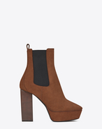 SAINT LAURENT Heel Booties D VIKA 95 Chelsea ankle boot in caramel suede f
