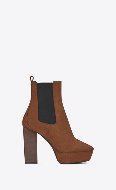 SAINT LAURENT Heel Booties D VIKA 95 Chelsea ankle boot in caramel suede a_V4