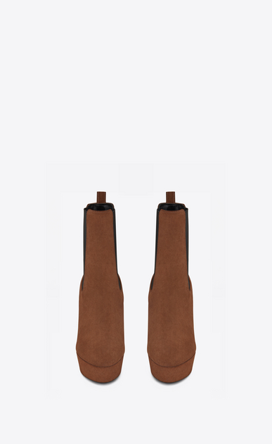 SAINT LAURENT Heel Booties D VIKA 95 Chelsea ankle boot in caramel suede b_V4