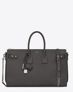 SAINT LAURENT Sac De Jour Supple D SAC DE JOUR SOUPLE Duffle 36 bag in asphalt gray grained leather f