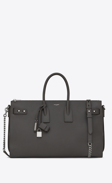 SAINT LAURENT Sac De Jour Supple D SAC DE JOUR SOUPLE Duffle 36 bag in asphalt gray grained leather a_V4