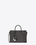 SAINT LAURENT Sac De Jour Supple D Baby SAC DE JOUR SOUPLE duffle bag in asphalt gray grained leather f