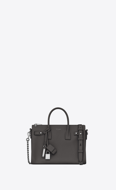 SAINT LAURENT Sac De Jour Supple D Baby SAC DE JOUR SOUPLE duffle bag in asphalt gray grained leather a_V4
