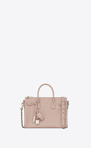 SAINT LAURENT Sac De Jour Supple D Baby SAC DE JOUR SOUPLE duffle bag in pink grained leather a_V4
