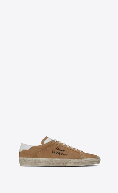 SAINT LAURENT SL/06 Damen court sl/06 sneakers aus sandfarbenem velours a_V4