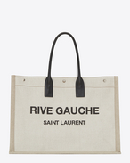 SAINT LAURENT Noe D RIVE GAUCHE tote bag in white linen and black leather f