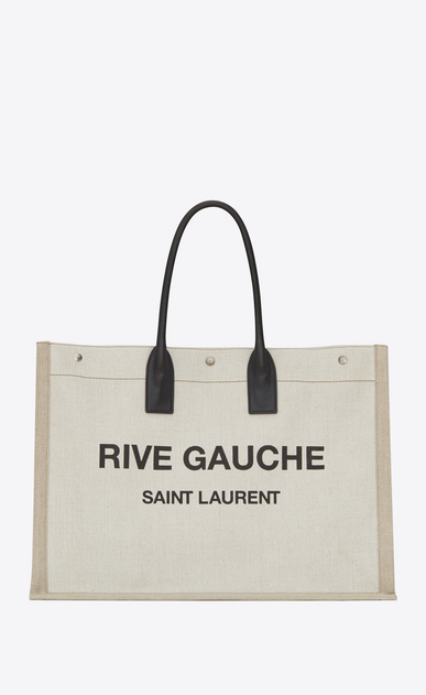 SAINT LAURENT Noe Woman RIVE GAUCHE tote bag in white linen and black leather a_V4
