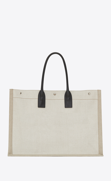 SAINT LAURENT Noe Woman RIVE GAUCHE tote bag in white linen and black leather b_V4