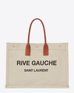 SAINT LAURENT Noe D RIVE GAUCHE tote bag in beige linen and cognac leather f