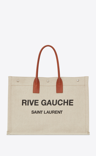 SAINT LAURENT Noe Woman RIVE GAUCHE tote bag in beige linen and cognac leather a_V4