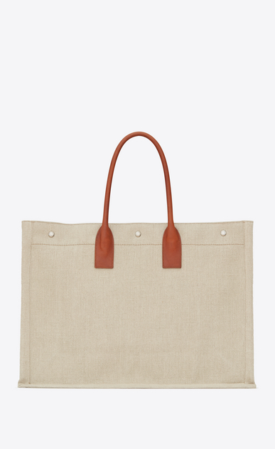 SAINT LAURENT Noe Woman RIVE GAUCHE tote bag in beige linen and cognac leather b_V4