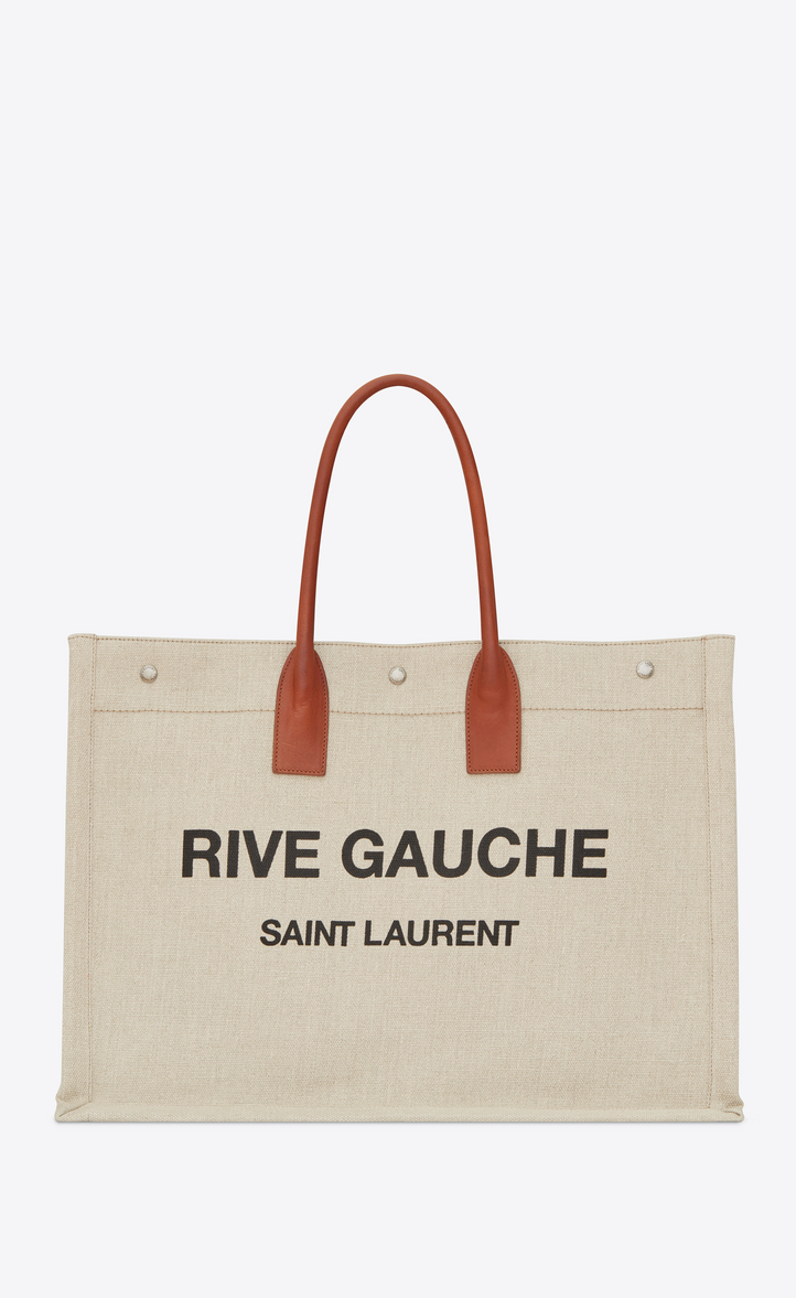 Saint Laurent Rive Gauche Tote Bag In Beige Linen And