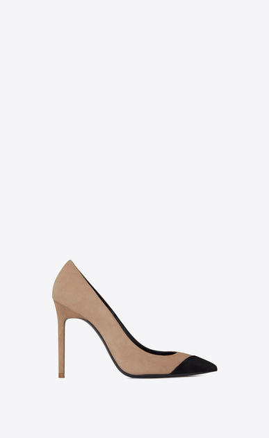 SAINT LAURENT Anja Woman ANJA 105 pump in beige and black suede a_V4