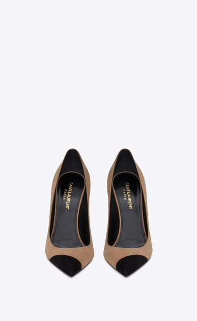 SAINT LAURENT Anja Woman ANJA 105 pump in beige and black suede b_V4