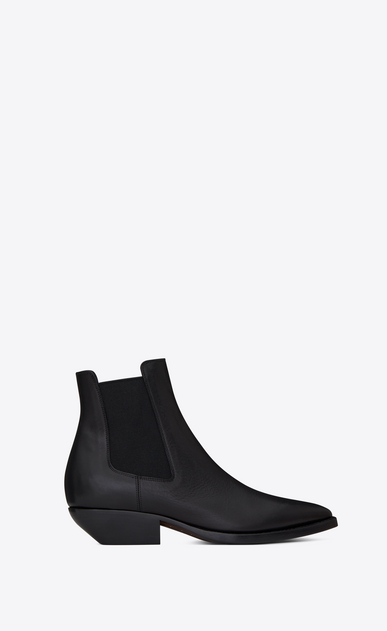SAINT LAURENT Flat Booties D THEO 45 Chelsea ankle boot in black leather a_V4