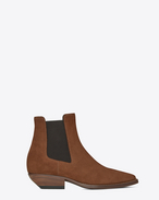 SAINT LAURENT Flat Booties D THEO 45 Chelsea ankle boot in caramel suede f
