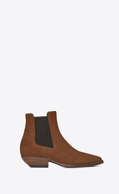 SAINT LAURENT Flat Booties D THEO 45 Chelsea ankle boot in caramel suede a_V4