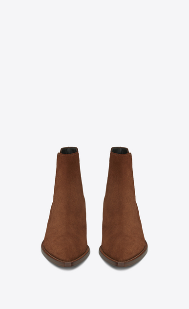 SAINT LAURENT Flat Booties D THEO 45 Chelsea ankle boot in caramel suede b_V4