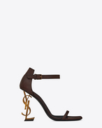 SAINT LAURENT YSL heels D OPYUM 110 sandals in brown leather and gold-toned metal f