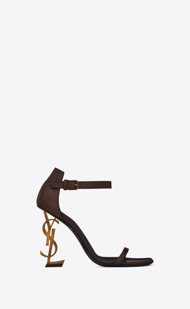 SAINT LAURENT YSL 힐 D OPYUM 110 sandals in brown leather and gold-toned metal a_V4