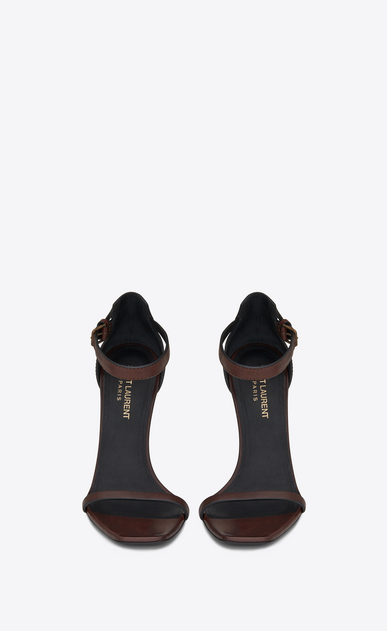 SAINT LAURENT YSL heels Woman OPYUM 110 sandals in brown leather and gold-toned metal b_V4