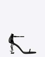 SAINT LAURENT YSL ABSATZ  D OPYUM 85 sandals in black patent leather and black metal f