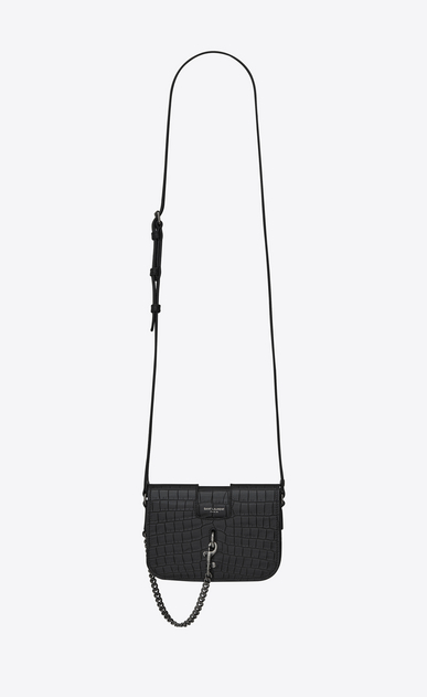 SAINT LAURENT Charlotte D CHARLOTTE Toy bag in black crocodile-embossed leather a_V4