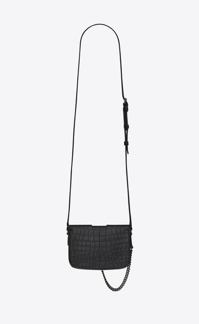 SAINT LAURENT Charlotte D CHARLOTTE Toy bag in black crocodile-embossed leather b_V4
