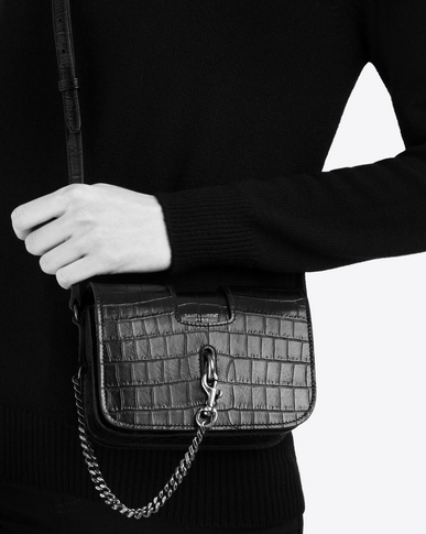 SAINT LAURENT Mini bags Charlotte Woman CHARLOTTE Toy bag in black crocodile-embossed leather y_V4