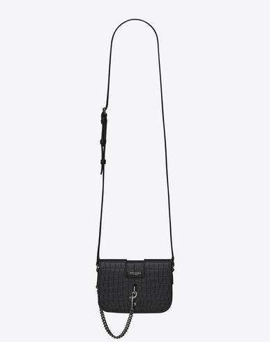 Medium Charlotte Messenger Bag In Fog Crocodile Embossed Leather in Grey