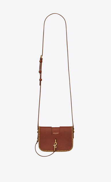 SAINT LAURENT Charlotte D CHARLOTTE Toy bag in vintage cognac leather with plaited edges a_V4